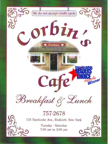 Corbin's Cafe Menu.